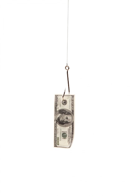 Sto Dolarów Na Haku Połowów Na Białym Tle Darmowe Zdjęcia