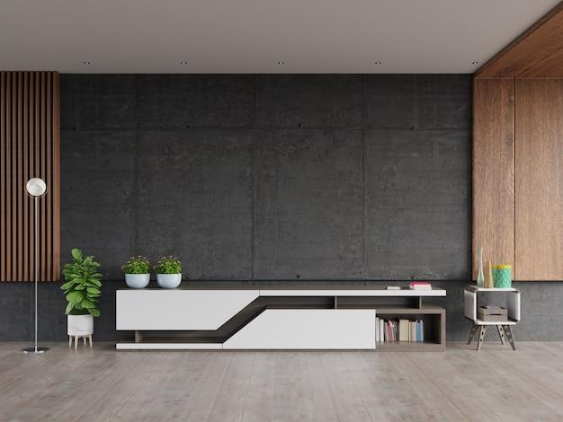Stojak na zaprawy tv z ekranem z cementu na ścianie w nowoczesnym salonie. Premium Zdjęcia