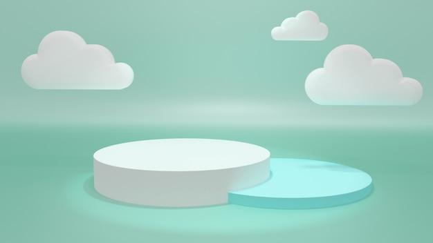 Stojak Wystawowy, Okrągłe Podium, Pastelowy Kolor. 3d Ilustracja, 3d Rendering. Premium Zdjęcia