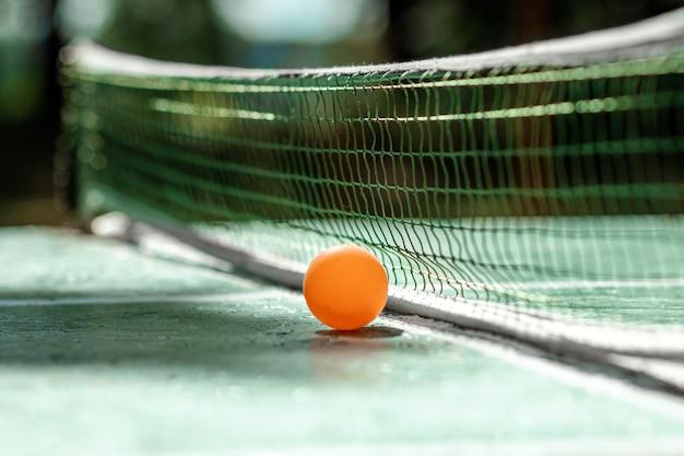 Stół Do Ping Ponga, Gra W Piłkę W Przyrodzie Premium Zdjęcia