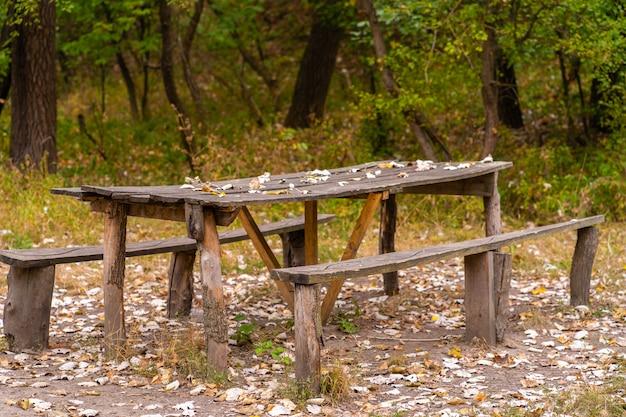 Stół I Dwie ławki Z Surowego Domu Z Bali. Teren Rekreacyjny W Lesie Premium Zdjęcia