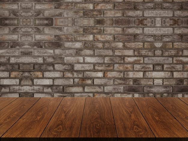 Stół Z Drewna Przed Rustykalnym Murem Rozmycie Tła Z Pustą Przestrzenią Na Stole. Premium Zdjęcia