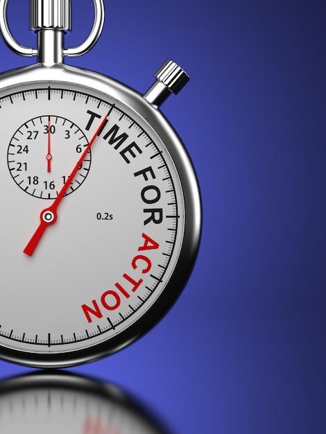 """Stoper Z Napisem """"time For Action"""" Na Niebieskim Tle Premium Zdjęcia"""