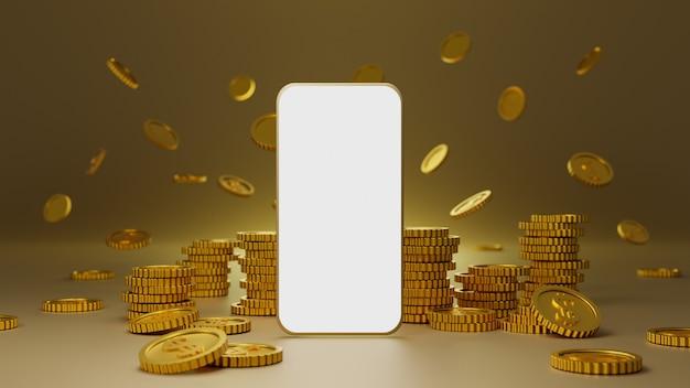 Stos Złotych Monet Z Makietą Mobilną Białego Ekranu Na Złotym Tle Premium Zdjęcia