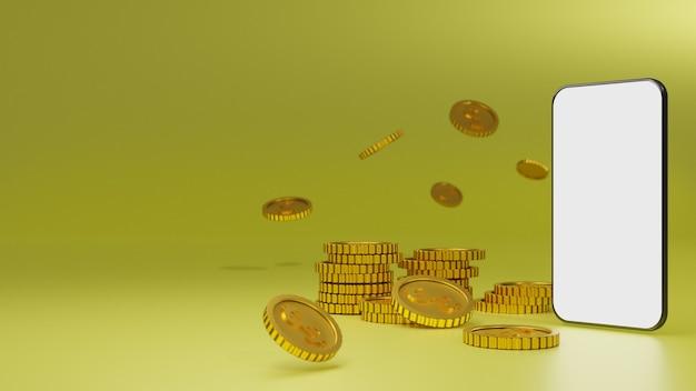 Stos Złotych Monet Z Makietą Mobilną Na Białym Ekranie Na żółtym Tle Premium Zdjęcia