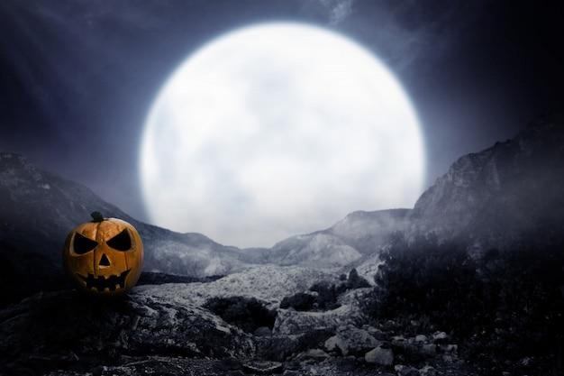 Straszna Dynia W świetle Księżyca Premium Zdjęcia