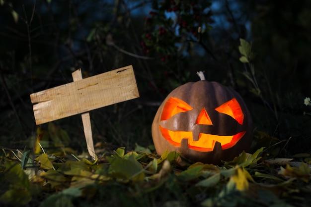 Straszna Halloweenowa Dynia I Stara Deska Dla Teksta Premium Zdjęcia