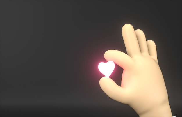 Streszczenie 3d Cartoon Ręka Trzyma Mini Neonową Ikonę Serca. Premium Zdjęcia