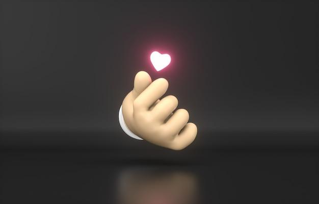 Streszczenie 3d Cartoon Ręka Z Mini Neonową Ikoną Serca. Premium Zdjęcia