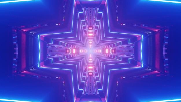 Streszczenie 3d Ilustracja Jasnych Linii Neonowych Tworzących Ornament W Kształcie Krzyża W Niebieskim Tunelu Premium Zdjęcia