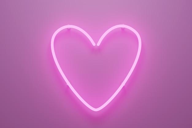 Streszczenie 3d Ilustracją Różowego światła Neonowego W Kształcie Serca. Premium Zdjęcia