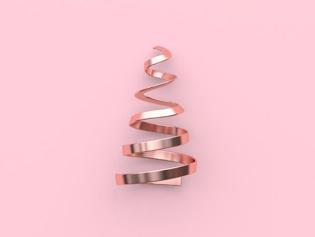 Streszczenie Choinki Wstążka Cewki Metaliczny Różowy Błyszczący Odbicie Boże Narodzenie Wakacje Nowy Rok Premium Zdjęcia
