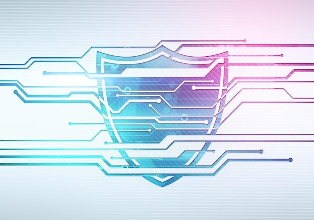 Streszczenie Cyfrowa Ilustracja Koncepcja Bezpieczeństwa I Ochrony Danych Internetowych Z Tarczą Na Mikroczipie Obwodu Premium Zdjęcia