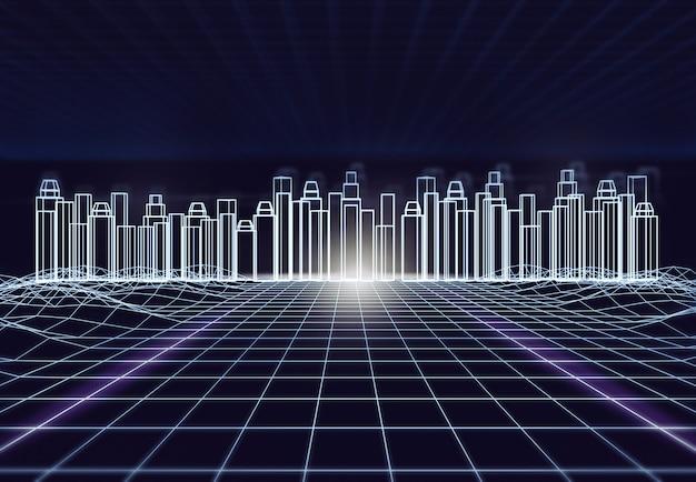 Streszczenie Futurystyczne Miasto Z Ramą Drutu W Niebieskim Odcieniu. Technologia Cyfrowej Architektury Przyszłości Premium Zdjęcia