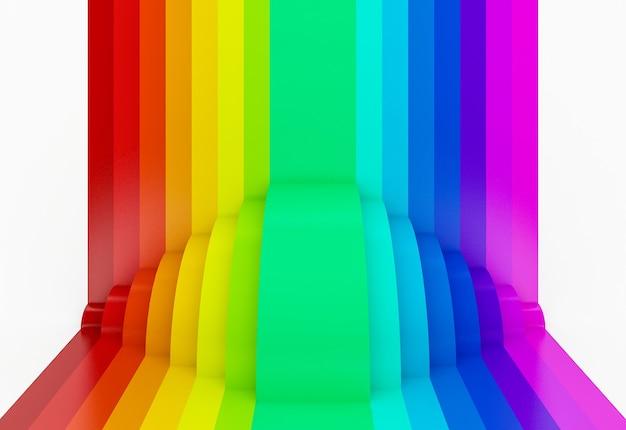 Streszczenie Kolorowe Tło Perspektywy Tęczy, 3d Premium Zdjęcia