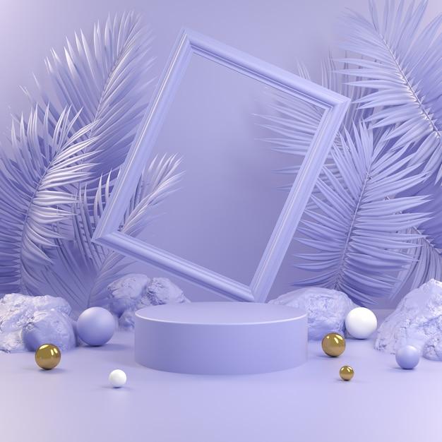 Streszczenie Podium Fioletowe Z Ramą I Renderowania 3d Liści Palmowych Tła Premium Zdjęcia