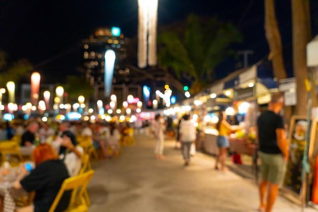 Streszczenie Rozmycie I Niewyraźne Nocny Targ Uliczny Premium Zdjęcia