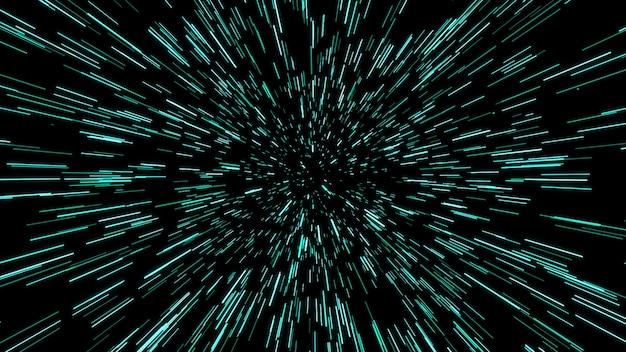 Streszczenie Ruchu Osnowy Lub Hiperprzestrzeni W Szlaku Niebieskiej Gwiazdy. Eksplodujący I Rozszerzający Się Ruch. Ilustracja Premium Zdjęcia