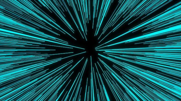 Streszczenie Ruchu Osnowy Lub Hiperprzestrzeni W Szlaku Niebieskiej Gwiazdy. Eksplodujący I Rozszerzający Się Ruch Premium Zdjęcia