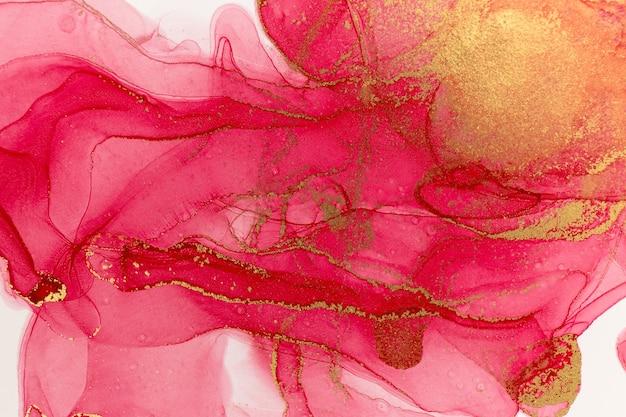 Streszczenie Tło Wiosna Różowa Piwonia. Różowy I Złoty Wzór Akwarela. Premium Zdjęcia