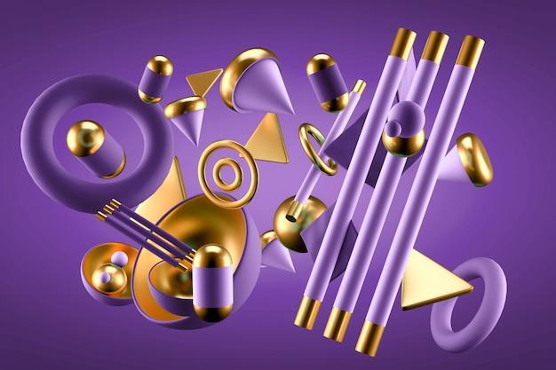 Streszczenie Tło Z Elementami. Ilustracja, Renderowanie 3d. Premium Zdjęcia