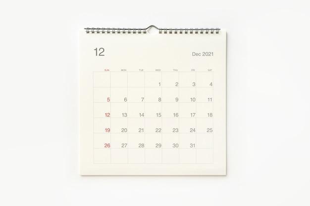Strona Kalendarza Grudnia 2021 Na Białym Tle. Tło Kalendarza Dla Przypomnienia, Planowania Biznesowego, Spotkania Terminowego I Wydarzenia. Premium Zdjęcia