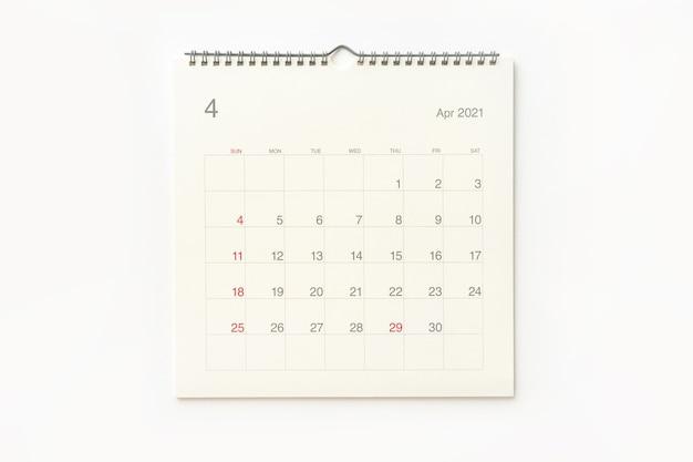 Strona Kalendarza Kwietnia 2021 Na Białym Tle. Tło Kalendarza Dla Przypomnienia, Planowania Biznesowego, Spotkania Terminowego I Wydarzenia. Premium Zdjęcia