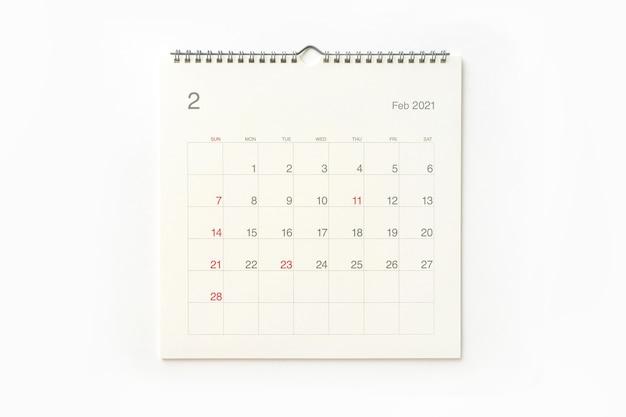Strona Kalendarza Lutego 2021 Na Białym Tle. Tło Kalendarza Dla Przypomnienia, Planowania Biznesowego, Spotkania Terminowego I Wydarzenia. Premium Zdjęcia