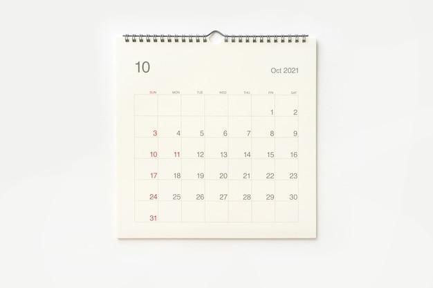 Strona Kalendarza Października 2021 Na Białym Tle. Tło Kalendarza Dla Przypomnienia, Planowania Biznesowego, Spotkania Terminowego I Wydarzenia. Premium Zdjęcia