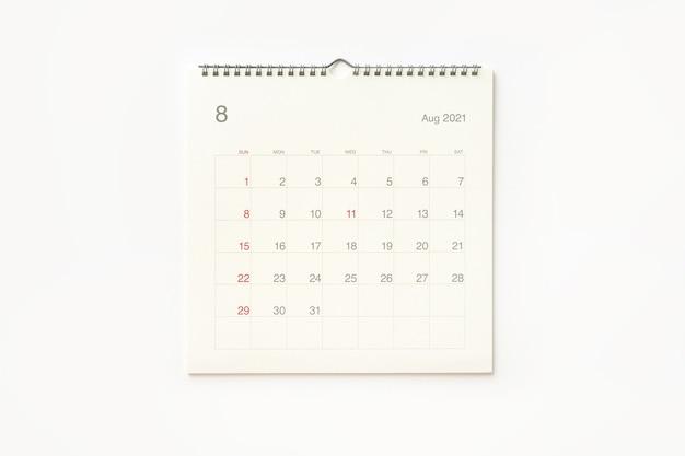 Strona Kalendarza Sierpnia 2021 Na Białym Tle. Tło Kalendarza Dla Przypomnienia, Planowania Biznesowego, Spotkania Terminowego I Wydarzenia. Premium Zdjęcia