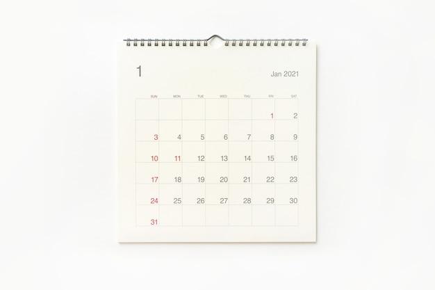 Strona Kalendarza Stycznia 2021 Na Białym Tle. Tło Kalendarza Dla Przypomnienia, Planowania Biznesowego, Spotkania Terminowego I Wydarzenia. Premium Zdjęcia
