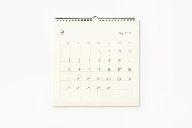 Strona Kalendarza Września 2021 Na Białym Tle. Tło Kalendarza Dla Przypomnienia, Planowania Biznesowego, Spotkania Terminowego I Wydarzenia. Premium Zdjęcia
