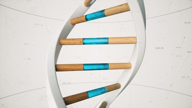 Struktura Ludzkiego Dna Obraca Się Na Tle Związków I Liczb. Koncepcyjne Nauki Technologii 3d Ilustracja Premium Zdjęcia