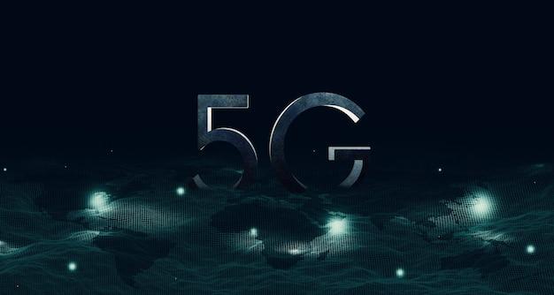 Struktura Siatki Na Mapie Cyfrowa Komunikacja Sieciowa 5g I Internet System Sieci Bezprzewodowej 5g (internet Rzeczy) Premium Zdjęcia