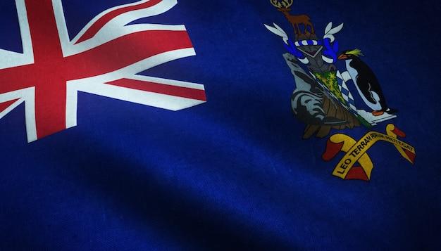 Strzał Zbliżenie Macha Flagą Georgii Południowej I Sandwichu Południowego Darmowe Zdjęcia