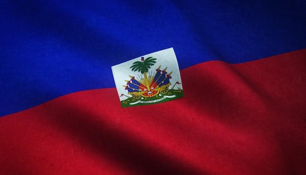 Strzał Zbliżenie Macha Flagą Haiti Z Ciekawymi Teksturami Darmowe Zdjęcia