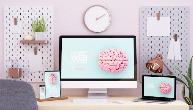 Studio Z Różowego I Różowego Złota Z Responsywnymi Urządzeniami I Responsywnym Renderowaniem 3d Strony Internetowej Premium Zdjęcia