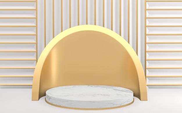 Styl Gold White, Minimalistyczny Geometryczny Podium. Renderowanie 3d Premium Zdjęcia
