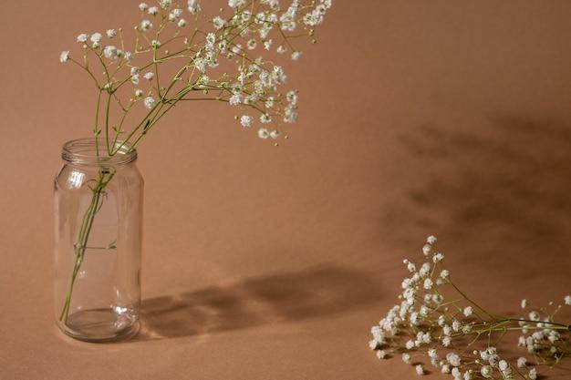 Sucha Gałąź Kwiat Na Jasnobrązowym Tle. Trend, Minimalistyczna Koncepcja Z Widokiem Z Boku Z Ciemnym Cieniem Premium Zdjęcia