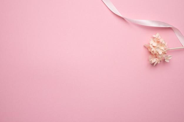Sucha Gałąź Kwiatu Na Pastelowym Różowym Tle. Trend, Minimalna Suszona Koncepcja Z Widokiem Z Góry Copyspace Premium Zdjęcia