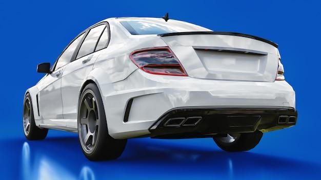 Super Szybki Biały Samochód Sportowy Na Niebieskim Tle. Sedan W Kształcie Ciała. Tuning To Wersja Zwykłego Samochodu Rodzinnego Premium Zdjęcia