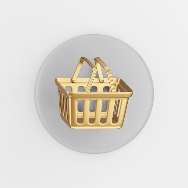 Supermarket Złoty Ikona Koszyka Na Zakupy. 3d Renderowania Szary Okrągły Przycisk Klucza, Element Interfejsu Użytkownika Interfejsu Użytkownika. Premium Zdjęcia