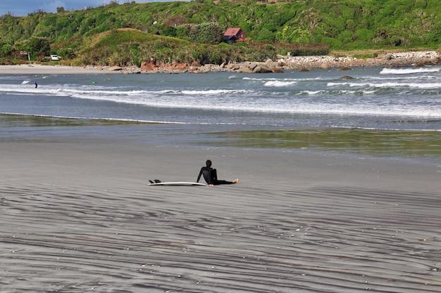 Surfingowiec na zachodnim wybrzeżu na południowej wyspie, nowa zelandia Premium Zdjęcia