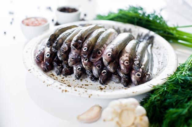 Surowa Makrela Na Talerzu, Koperku, Różowej Soli, Pieprzu I Czosnku. Premium Zdjęcia