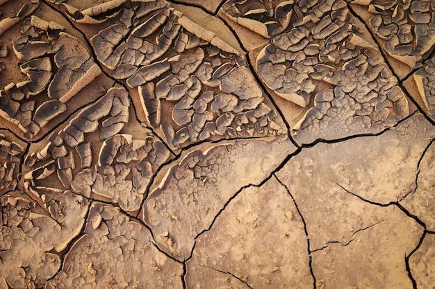 Suszona Popękana Ziemia Gleby Tekstury Ziemi. Premium Zdjęcia