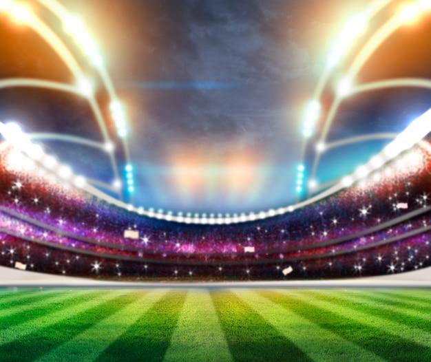 Światła W Nocy I Stadion 3d Render Premium Zdjęcia