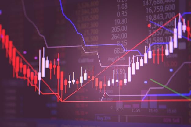 Świeca kij wykres wykres ekranu giełdzie obrotu giełdowego. Premium Zdjęcia