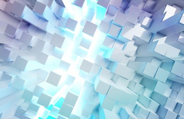 Świecące białe i niebieskie kwadraty wzór tła Premium Zdjęcia