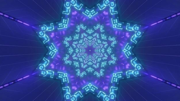 Świecące Niebieskie I Fioletowe Tło Ilustracji 3d Z Geometrycznymi Kalejdoskopowymi Gwiazdami I Neonowymi Liniami Tworzącymi Abstrakcyjny Projekt Tunelu Premium Zdjęcia