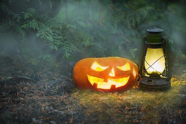 Świecący jack o lantern w ciemnej mgle las na halloween. Premium Zdjęcia